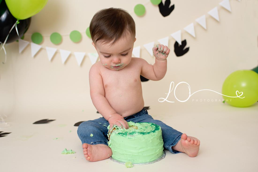 Dino cake smash, dinosaur one year birthday, Maine Cake Smash Photographer, One year photos
