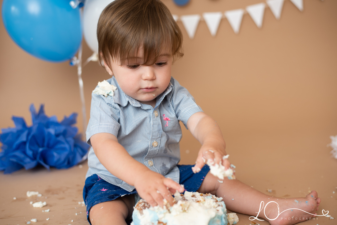 blue cake smash, Maine cake smash photographer, Maine Children's Photographer, boy cake smash, one year birthday pictures